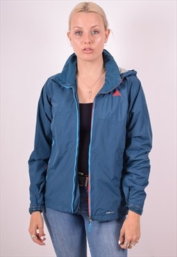 Adidas Womens Vintage Rain Jacket Small Blue 90s
