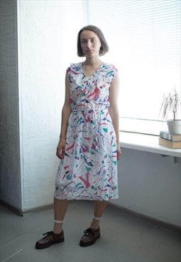 Vintage 80's Multicolored Sleeveless Midi Dress
