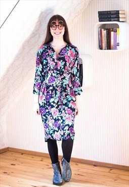 Black soft batwing dress with bright flowers