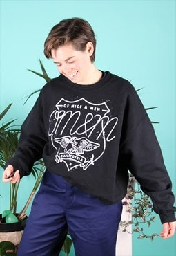 Vintage Sweater in Black with Of Mice and Men Print