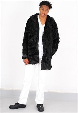 Vintage Black Fux Fur Jacket