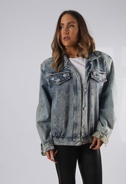 Vintage Denim Jacket Oversized Fitted UK 16 XL (HP1B)