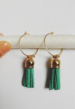 Turquoise Green Large Tassel Gold Hoop Earrings