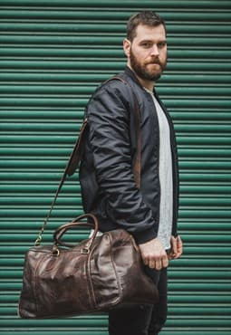 Leather Weekend Travel Bag Large In Dark Brown