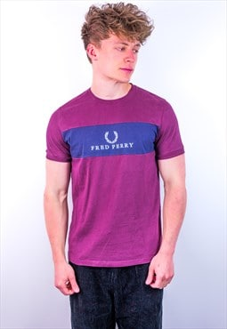 Vintage Fred Perry Embroidery T-Shirt in Burgundy