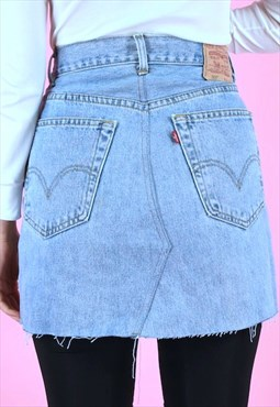 Vintage Rework Skirt 90s Levi's Denim Mini Light Blue