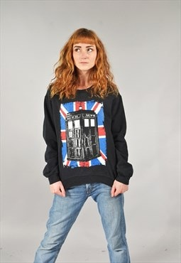 Vintage Dr Who Black Printed Sweater