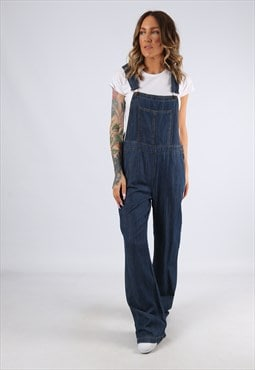 Denim Dungarees Wide Flared Leg Vintage  UK 12 (C94G)