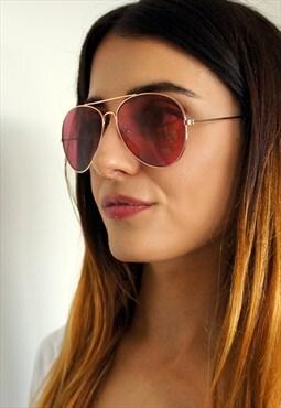 red/pink aviator sunglasses