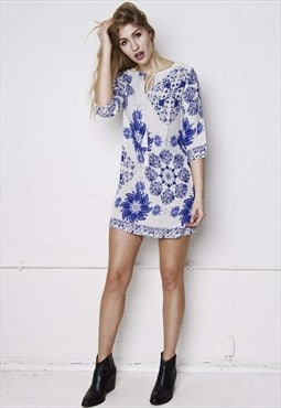 Pia blue floral plunge dress