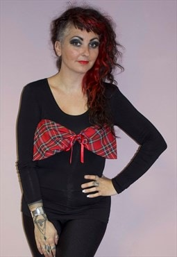 Handmade punk grunge unique black red tartan bow cotton top