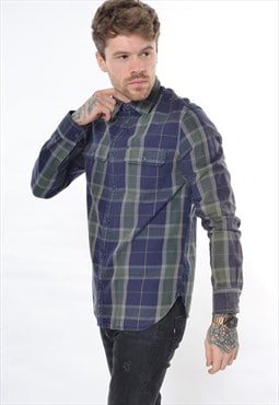 Vintage GAP 90's Check Flannel Shirt Blue