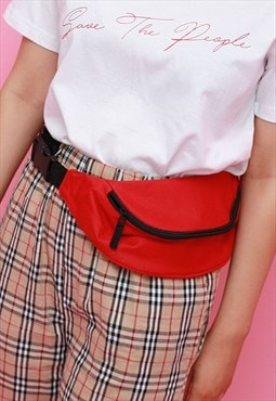 Red Belt Bag - Fanny Pack - Festival Bag - Bum Bag