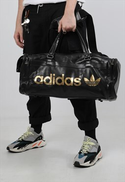 Vintage Adidas Leather Holdall Bag
