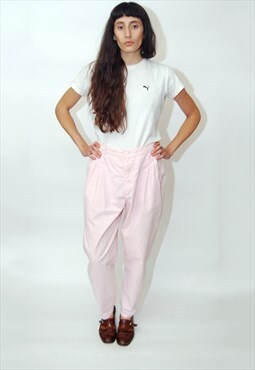 High Waisted Trousers (UK 20) pastel pink 80s vintage pants
