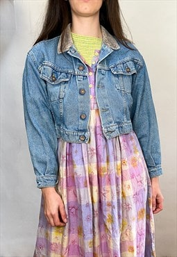 Vintage 90's Cropped Light Wash Denim Jacket