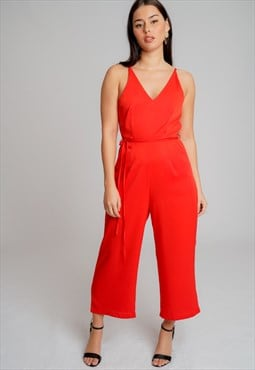 Red Strappy Culotte Jumpsuit with Waist Tie