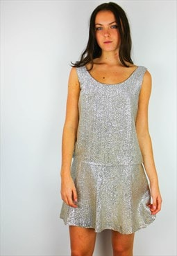 Vintage Silver Metallic Drop Waist Mini  Party Dress