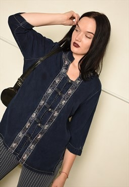 Vintage Y2K folk embroidered tunic top in blue denim