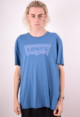 LEVI'S MENS VINTAGE T-SHIRT TOP XXL BLUE 90S