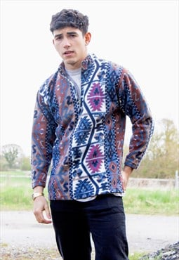 Blue Purple Abstract Patterned 1/4 Zip Fleece