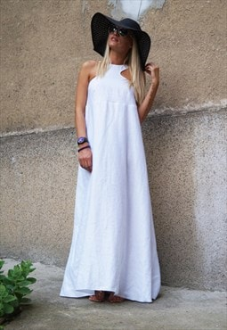 Convertible White Kaftan/Maxi Dress/Linen Tunic/F1490