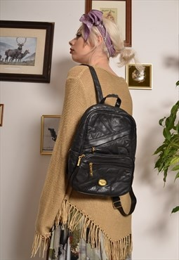 Vintage 70s Backpack in Black Patchwork Faux Leather