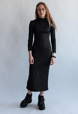 Vintage minimal body con dress in grey