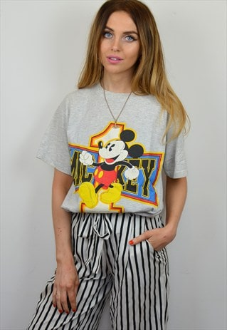 VINTAGE 90S GREY DISNEY MICKEY MOUSE FLORIDA T SHIRT