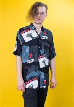 Vintage California Man Crazy Pattern Shirt in Black