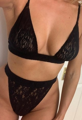 BLACK LACE SUPER HIGH WAIST THONG & BRA