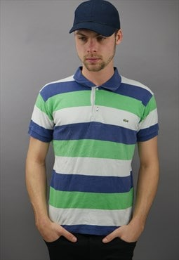 Vintage Lacoste Striped Polo in Blue & Green