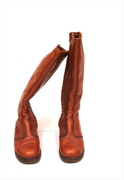 70s Tall Winter Warmed Tan Brown Leather Boots EU39 UK6