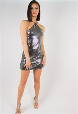 Silver halterneck sequin dress