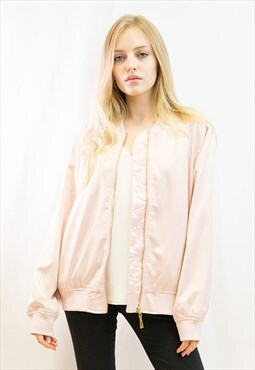Plain color Oversized relaxed fit  satin Bomber Jacket Pink
