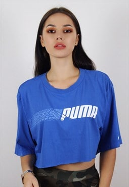 Vintage Royal Blue Puma Crop Top
