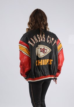 Leather Bomber Jacket Oversized FOOTBALL UK 18 20 (G9EK)