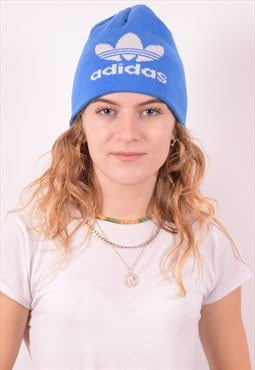 Adidas Womens Vintage Beanie Hat One Size Blue 90s