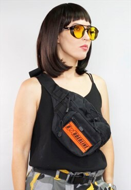 Utility orange velcro bag Cross body bag - Bum bag