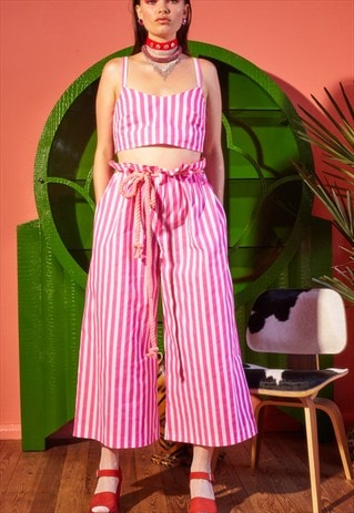 CANDY STRIPED FLARED TROUSERS