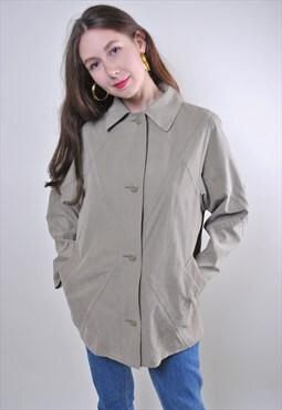 Vintage short woman minimalist grey collared trench jacket