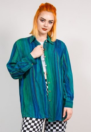 90'S VINTAGE GREEN WAVEY PATTERN SILKY STYLE SHIRT
