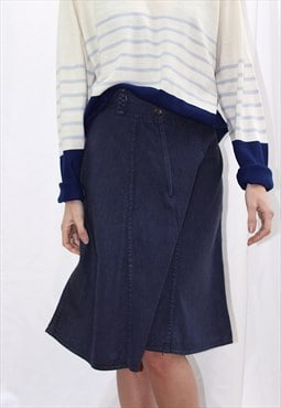 Vintage 80s panelled denim skirt A line in dark blue