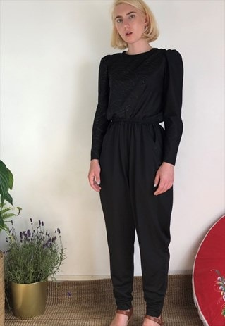 Vintage 80s black jumpsuit with sparkle