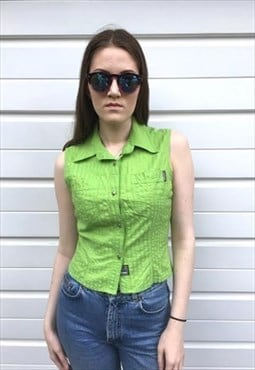 Womens Vintage 80s Versace top green stripy festival shirt