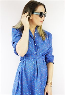 Vintage 80's Blue Floral Button Up Midi A Line Dress
