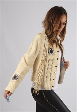 Vintage Leather Tassel Biker Jacket Beaded UK 10 - 12 (94F)