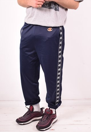 CHAMPION MENS VINTAGE TRACKSUIT TROUSERS SMALL BLUE 90S