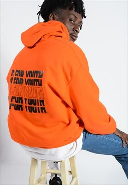 Unisex hoodie in orange with repeat logo