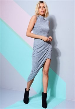 Sleeveless Metallic Turtleneck Dress With Wrap Skirt In Silv